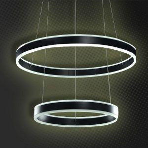 LÁMPARA DECORATIVA 2 AROS LED NEGROS