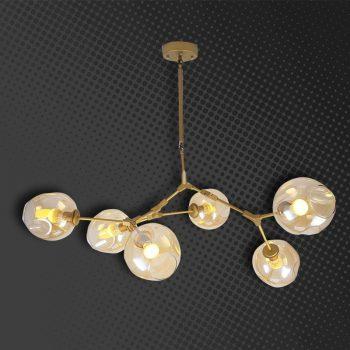 LAMPARA DECORATIVA TULIPAN DORADA Y CLEAR 7 SOCKETS E27 SE-P0551-7 (NO INCLUYE BOMBILLOS )
