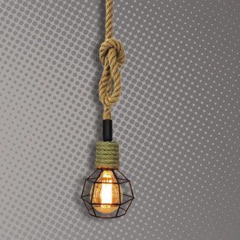 Lámpara de Soga y metal Cód.3883