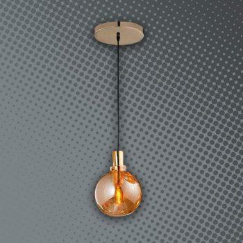 LAMPARA 1 BOLA CRISTAL AMBAR 3947