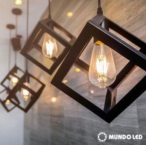 Lampara Mundo LED minimalista cubo negro