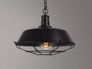 Lampara mundo led industrial negra